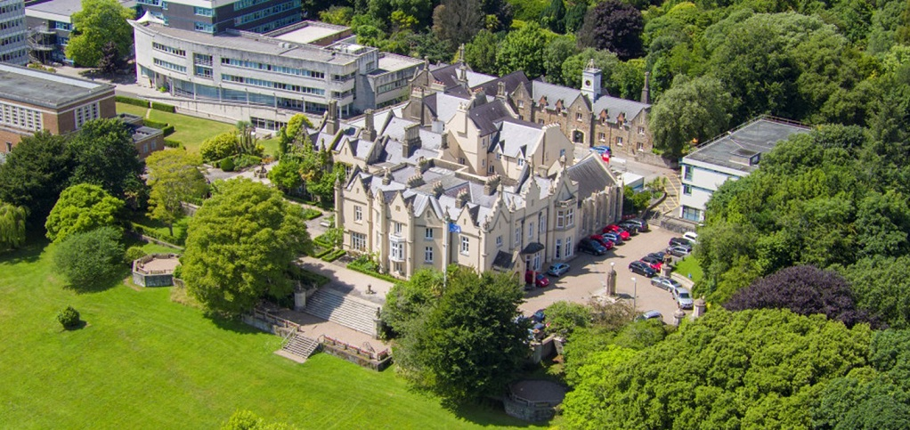 Overhead photograph of part of the Singleton Park campus of Swansea University showing the Abbey Buildings and the James Callaghan Building.